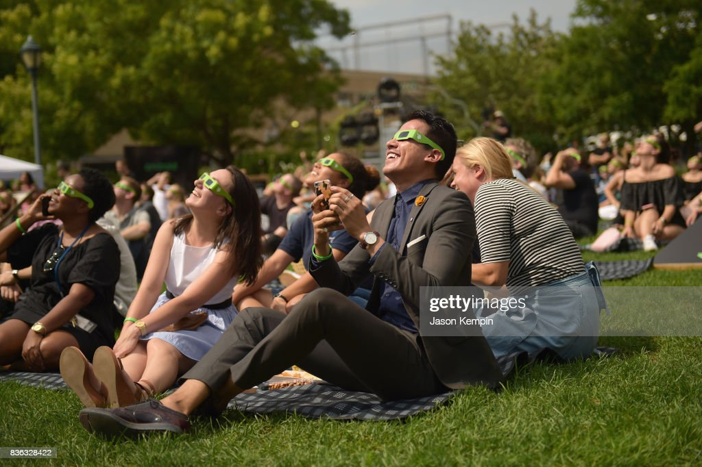 Guests await the solar eclipse as Google and Oreo reveal Android OREO at the 14th street park on August 21, 2017 in New York City.