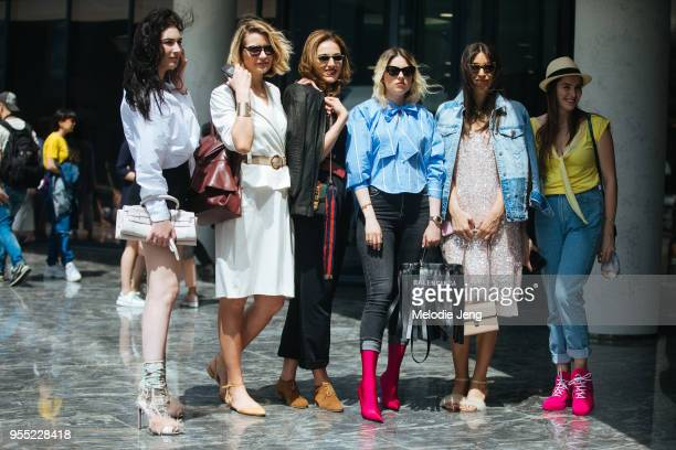 Guests before the Tamara Kopaliani show on May 5 2018 in Tbilisi Georgia One guest wears Balenciaga