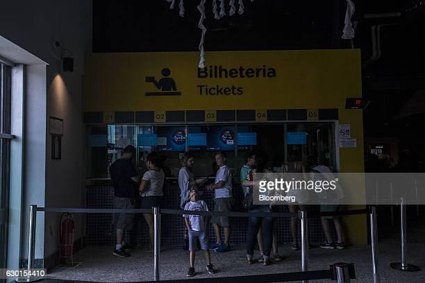 Guests buy tickets at AquaRio South America's largest aquarium in Rio de Janeiro Brazil on Saturday Dec 3 2016 AquaRio houses 8000 marine animals...