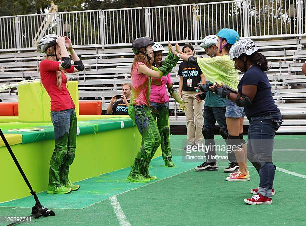 Guests celebrate Nickelodeon's largest ever Worldwide Day of Play at the Ellipse on September 24 2011 in Washington DC