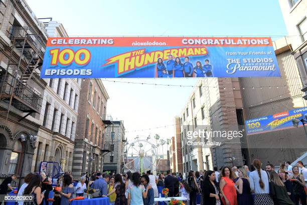 Guests celebrate the 100th episode of Nickelodeon's The Thundermans at Paramount Studios on June 28 2017 in Hollywood California