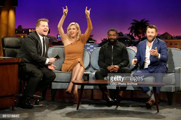 Guests Charlize Theron David Oyelowo Joel Edgerton visit with James Corden during 'The Late Late Show with James Corden' Wednesday March 7th 2018 On...