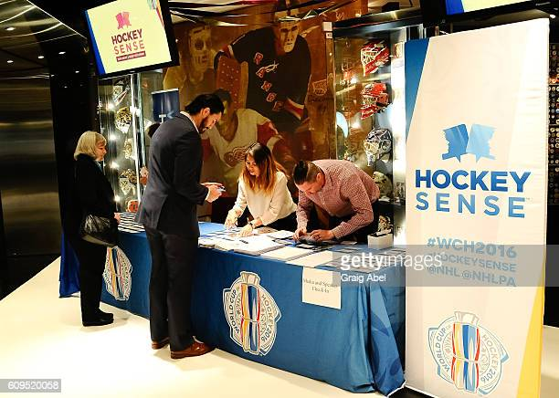 Guests check in at Hockey SENSE in partnership with the NHL NHLPA and Beyond Sport at the World Cup of Hockey 2016 at the Hockey Hall of Fame on...