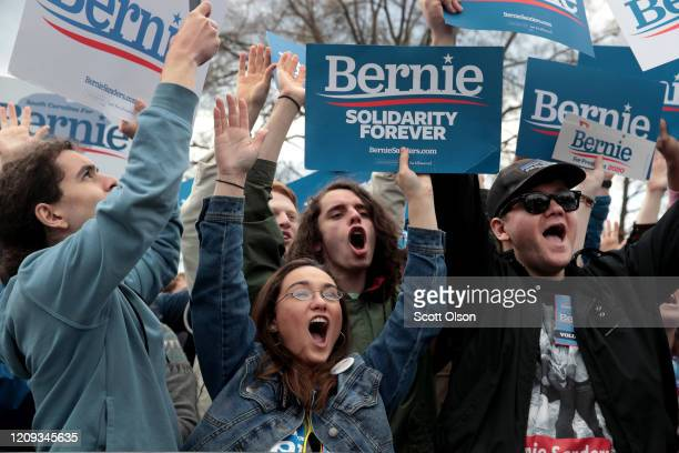 Guests cheer as Democratic presidential candidate Sen Bernie Sanders speaks during a campaign rally at Finlay Park on February 28 2020 in Columbia...