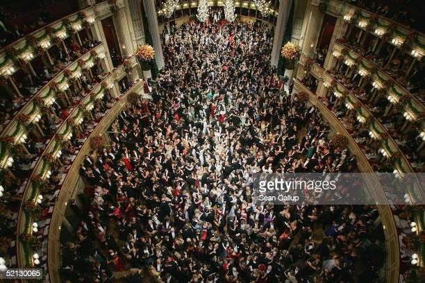 Guests dance a waltz at the annual 'Vienna Opera Ball' at the Vienna State Opera on February 3 2005 in Vienna Austria This major European ball has...