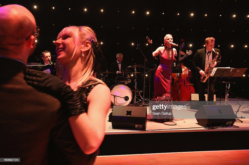 Guests dance at the grand opening of the Waldorf Astoria Berlin hotel on February 27, 2013 in Berlin, Germany.