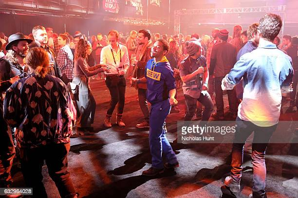 Guests dance at the Sundance Film Festival Awards Night Party at Basin Recreation Field House on January 28 2017 in Park City Utah