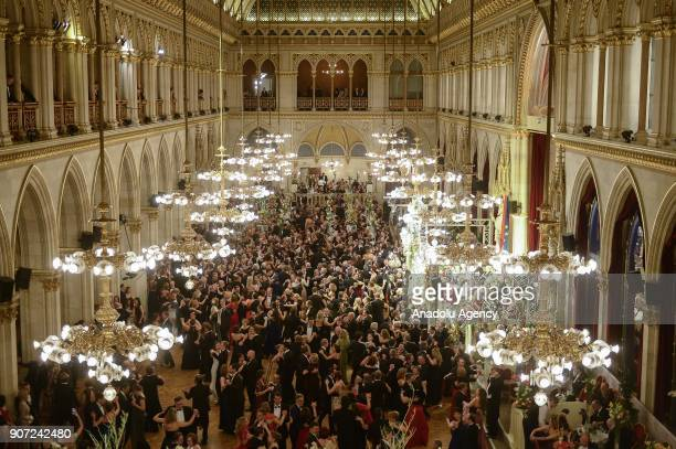Guests dance during the 96th Flower Ball at Vienna City Hall Vienna Austria on January 19 2018 The flower ball is consider to be the most beautiful...