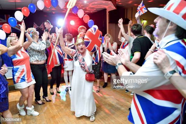 Guests dance during the Brexit party at Woolston Social Club on January 31 2020 in Warrington United Kingdom At 1100pm on Friday 31st January the UK...
