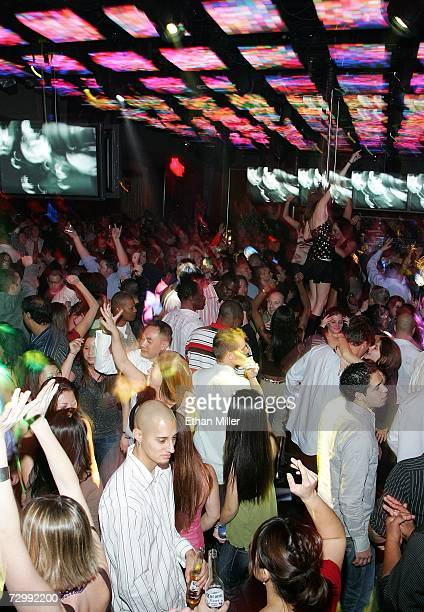 Guests dance during the Strip Las Vegas magazine anniversary party at the Jet Nightclub at The Mirage Hotel Casino early January 13 2007 in Las Vegas...