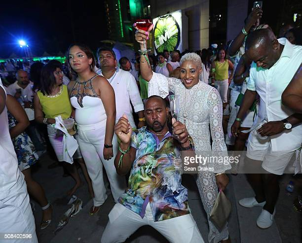 Guests dance to lively soca performances during the Hyatt LIME fete at Hyatt Regency Trinidad as part of Trinidad and Tobago Carnival on February 03...