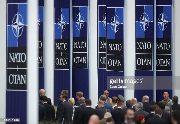Guests depart after attending the opening ceremony at the 2018 NATO Summit at NATO headquarters on July 11, 2018 in Brussels, Belgium. Leaders from...
