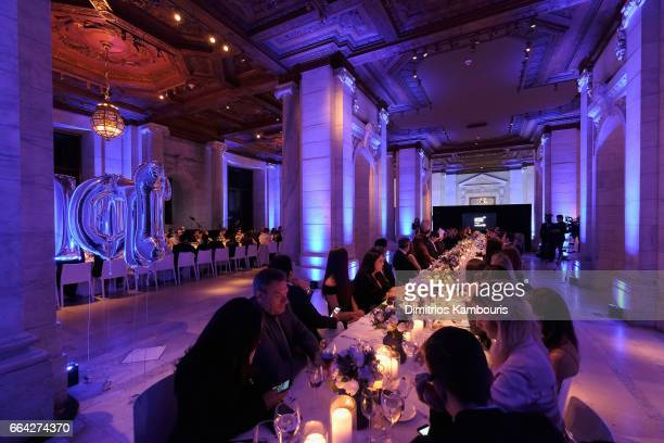 Guests dine inside the Stephen A Schwarzman Building during the Montblanc UNICEF Gala Dinner at the New York Public Library on April 3 2017 in New...