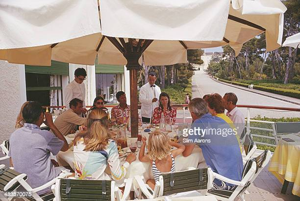 Guests dining at the Hotel du CapEdenRoc in Antibes on the French Riviera August 1969