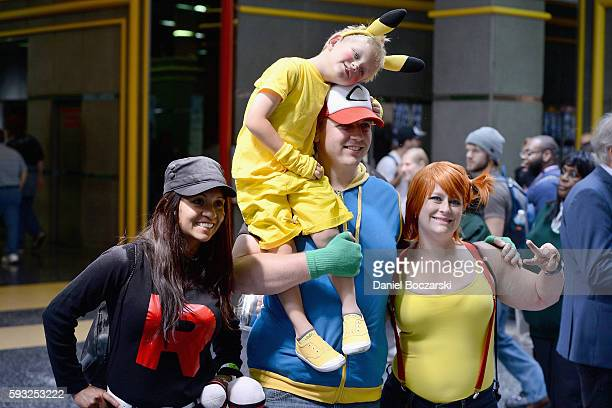 Guests dressed as Pokemon characters attend Wizard World Comic Con Chicago 2016 Day 4 at Donald E Stephens Convention Center on August 21 2016 in...