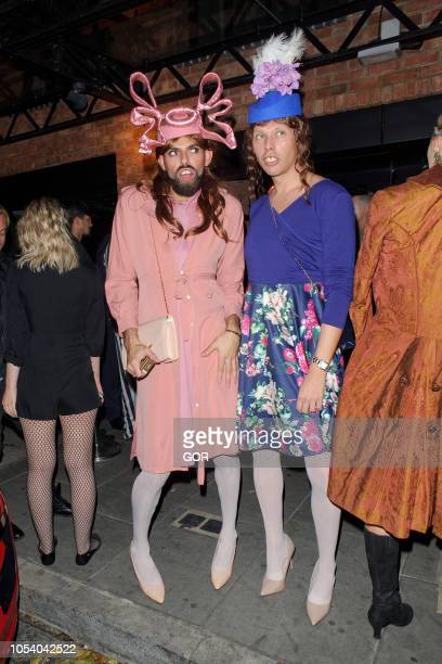 Guests dressed as Princess Beatrice and Eugenie seen arriving at Hallowzeem Party in Shoreditch on October 26 2018 in London England