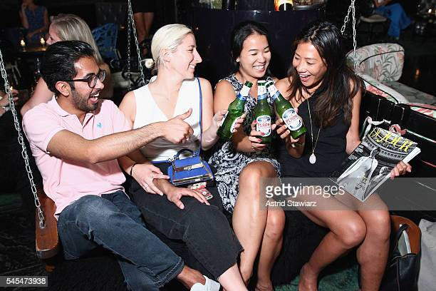 Guests drink Peroni beer during the after party at Provocateur for a screening of director Joe Berlinger's Tony Robbins I Am Not Your Guru hosted by...