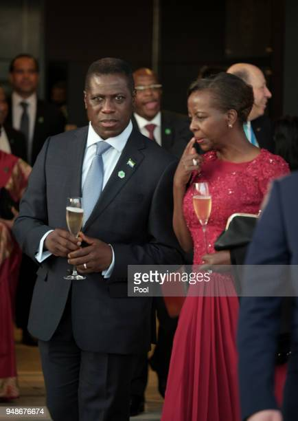 Guests during a welcome reception for the Commonwealth Heads of Government on day 4 of the Commonwealth Heads of Government Meeting at Sky Garden on...
