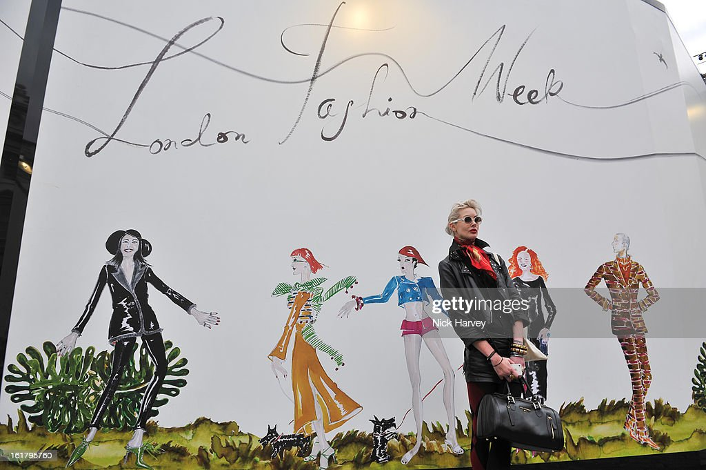 Guests during London Fashion Week Fall/Winter 2013/14 at Somerset House on February 16, 2013 in London, England.