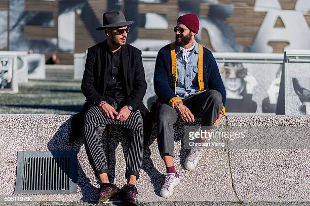 Guests during Pitti Uomo 89 on January 15 2016 in Florence Italy