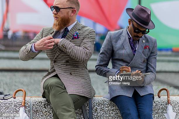 Guests during Pitti Uomo 90 on June 14 in Florence Italy