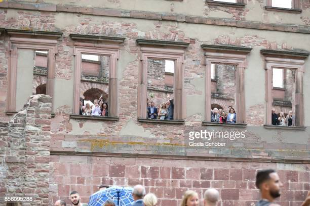 Guests during the church wedding of Erdogan Atalay and Katja Ohneck at Heidelberg Castle on September 30 2017 in Heidelberg Germany