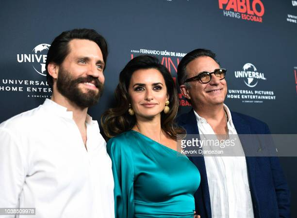 Guests Edgar Ramirez and Andy Garcia pose with actress Penelope Cruz during the Universal Pictures Home Entertainment Content Group's Loving Pablo...