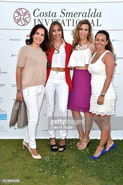 Guests, Emma Cabrera Bello and Esther Copado attend the Welcome Dinner prior to The Costa Smeralda Invitational golf tournament at Pevero Golf Club -...