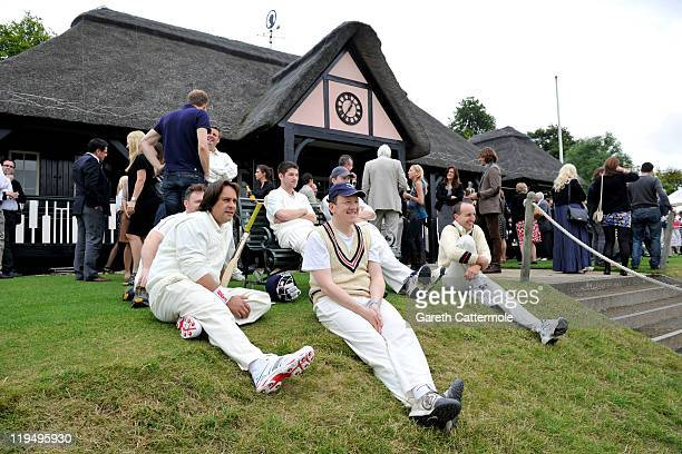 Guests enjoy an exclusive cricket day in the idyllic surroundings of the Getty family estate at Wormsley Buckinghamshire on July 21 2011 in...