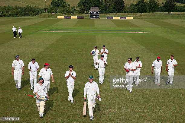 Guests enjoy an exclusive cricket day in the idyllic surroundings of the Getty family estate at Wormsley Buckinghamshire on July 12 2013 in...