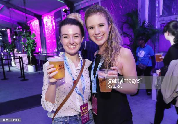 Guests enjoy Angry Orchard and Blue Moon refreshments during the Food Network Cooking Channel New York City Wine Food Festival presented by Capital...