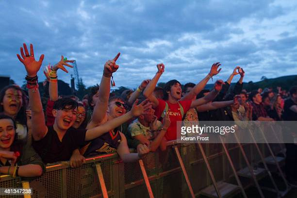 Guests enjoy Chemical Brothers performanc at Longitude Festival on July 19 2015 in Dublin Ireland