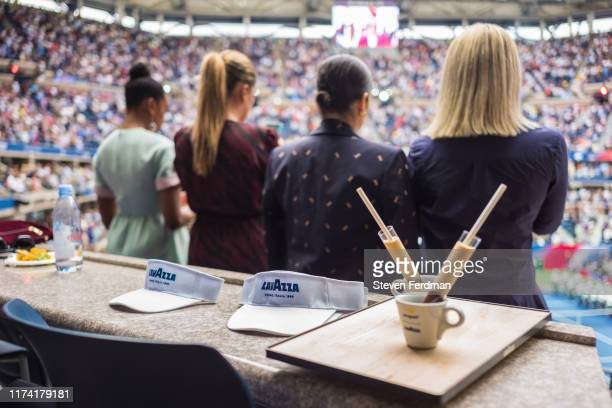 Guests enjoy coffee in the Lavazza Lounge during the 2019 US Open at Arthur Ashe Stadium on September 08, 2019 in New York City.