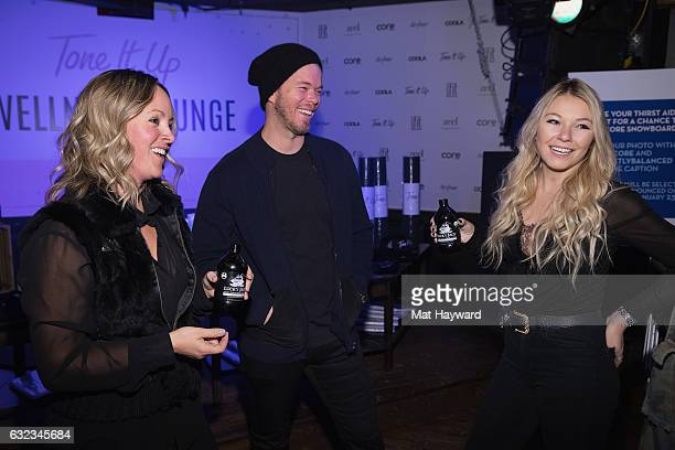 Guests enjoy Lucky Jack Double Black Cold Brew Coffee Tone It Up Wellness Lounge during the Sundance Film Festiva on January 21, 2017 in Park City,...