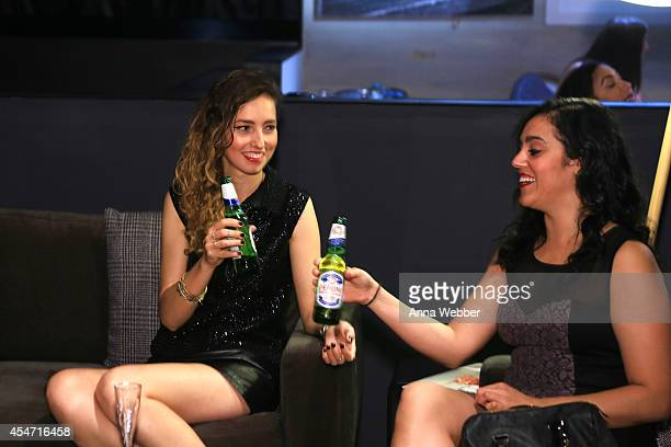 Guests enjoy Peroni during MercedesBenz Fashion Week Spring 2015 Collections at Lincoln Center on September 4 2014 in New York City