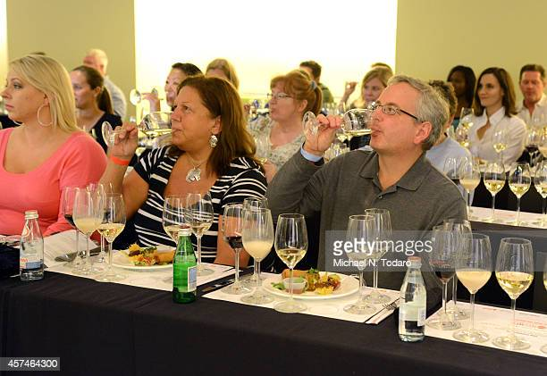 Guests enjoy SPellegrino Acqua Panna and Riedel Crystal of America at Dim Sommelier A RedFarm Pairing Seminar Hosted By Ed Schoenfeld And Josh Wesson...