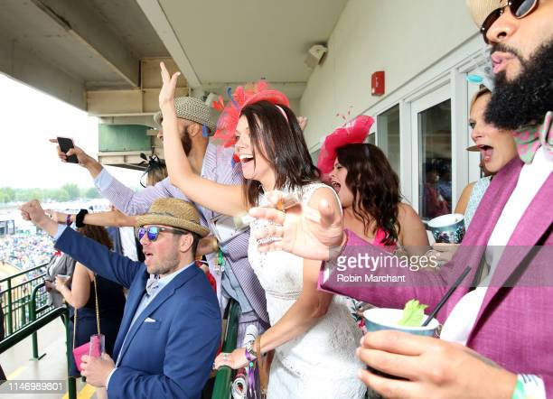 Guests enjoy the 145th Kentucky Derby at Churchill Downs on May 4 2019 in Louisville Kentucky