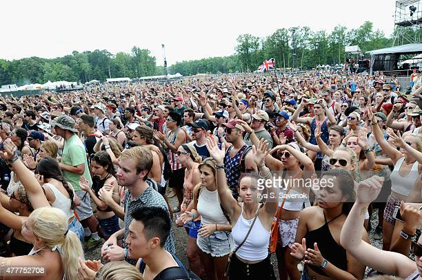 Guests enjoy the Clean Bandit performance during day 2 of the Firefly Music Festival on June 19, 2015 in Dover, Delaware.