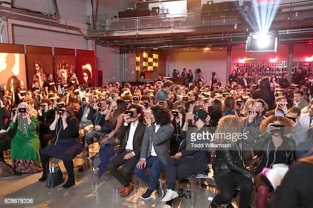 Guests enjoy the Great Performers VR experience using google cardboard during the New York Times Magazine's Great Performers 2016 at NeueHouse Los...