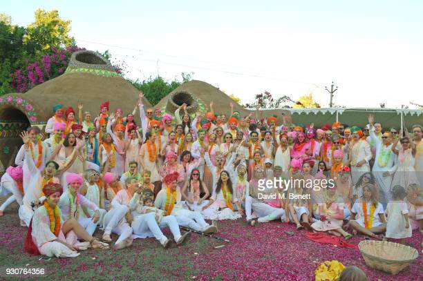 Guests enjoy the Holi Saloni celebrations in the RAAS Devigarh on March 10 2018 in Udaipur India