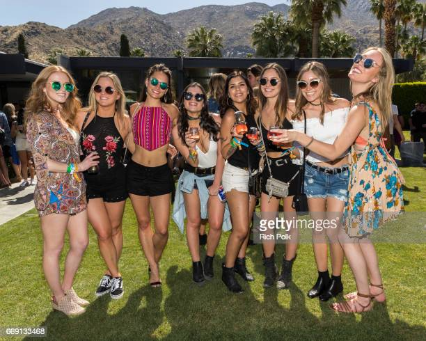 Guests enjoy the Interscope Coachella House on April 15 2017 in Palm Springs California