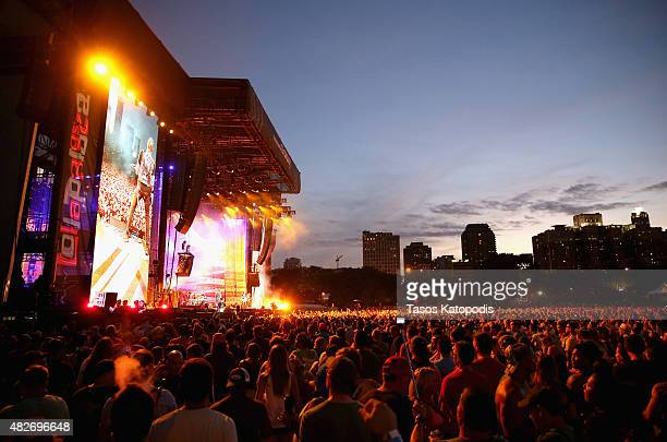 Guests enjoy the Metallica performance from the Samsung Galaxy Owner's Lounge during Lollapalooza 2015 at Grant Park on August 1 2015 in Chicago...