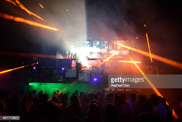 Guests enjoy the performance of worldrenowned group Above Beyond at the Budweiser Hotel in Rio de Janeiro Brazil on June 29 2014