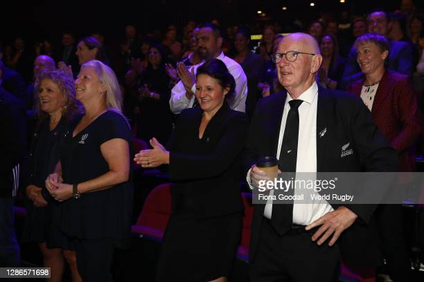 Guests enjoy the warm up during the Rugby World Cup 2021 Draw event at the SKYCITY Theatre on November 20, 2020 in Auckland, New Zealand.