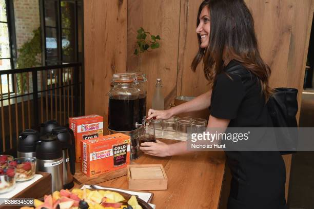 Guests enjoying new Dunkin' Donuts® Coffee at Home Cold Brew Coffee on August 24 2017 in New York City