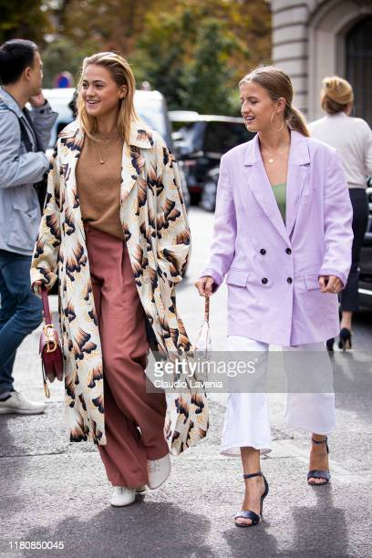 Guests fashion details are seen outside the Elie Saab show during Paris Fashion Week Womenswear Spring Summer 2020 on September 28 2019 in Paris...