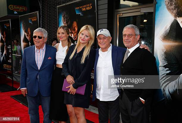 Guests from left Robert Kraft Ricki Noel Lander Samantha Perelman Ron Perelman and Ron Meyer attend the Get On Up premiere at The Apollo Theater on...