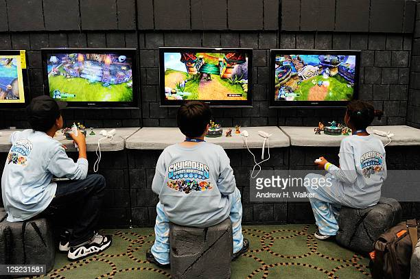 Guests from the Boys and Girls Club attend Skylanders Spyro's Adventure Launch Event hosted by Amar'e Stoudemire at Guastavino's on October 14 2011...