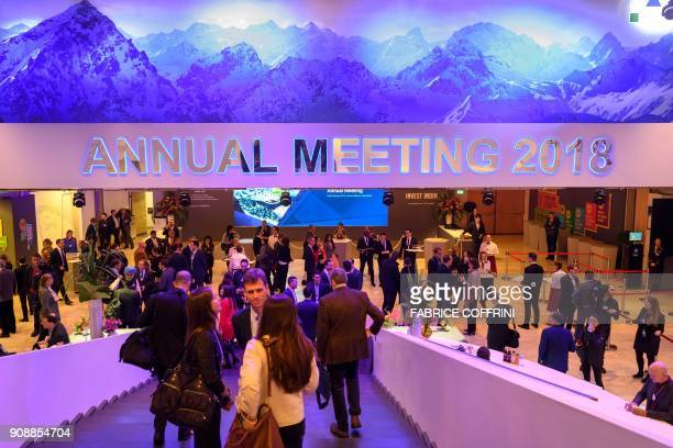 Guests gather prior to the Crystal Award ceremony ahead of the World Economic Forum 2018 annual meeting on January 22 2018 in Davos eastern...