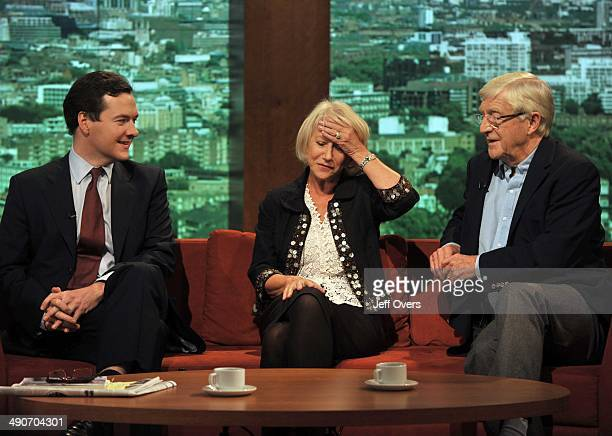 Guests George Osborne Michael Parkinson and Dame Helen Mirren on BBC news and current affairs programme The Andrew Marr Show 5th October 2008